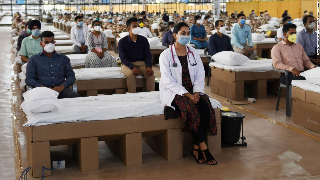 Medical professionals and health workers during the inauguration of Sardar Patel COVID Care Centre and Hospital in New Delhi, India, on June 27, 2020.