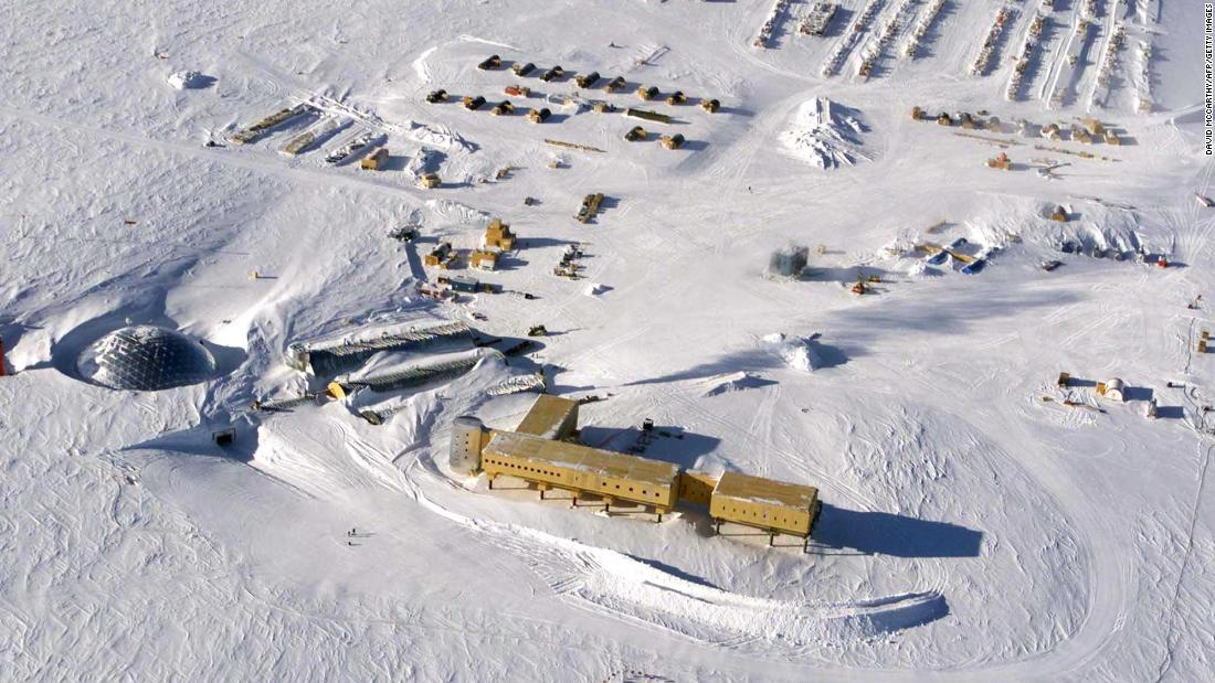 An aerial view of US Amundsen-Scott South Pole Station in Antarctica. New research shows that the South Pole has warmed three times the global average over the past three decades.