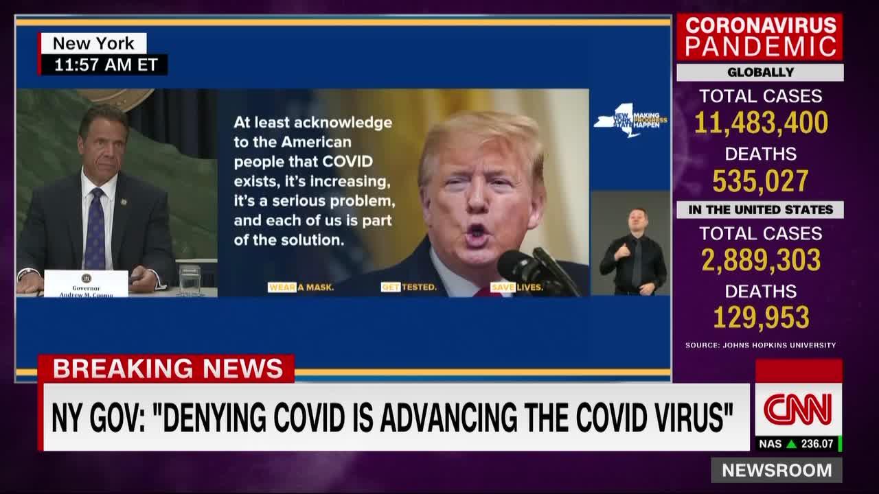 """El presidente Trump """"está habilitando el virus"""", dice el gobernador de Nueva York"""