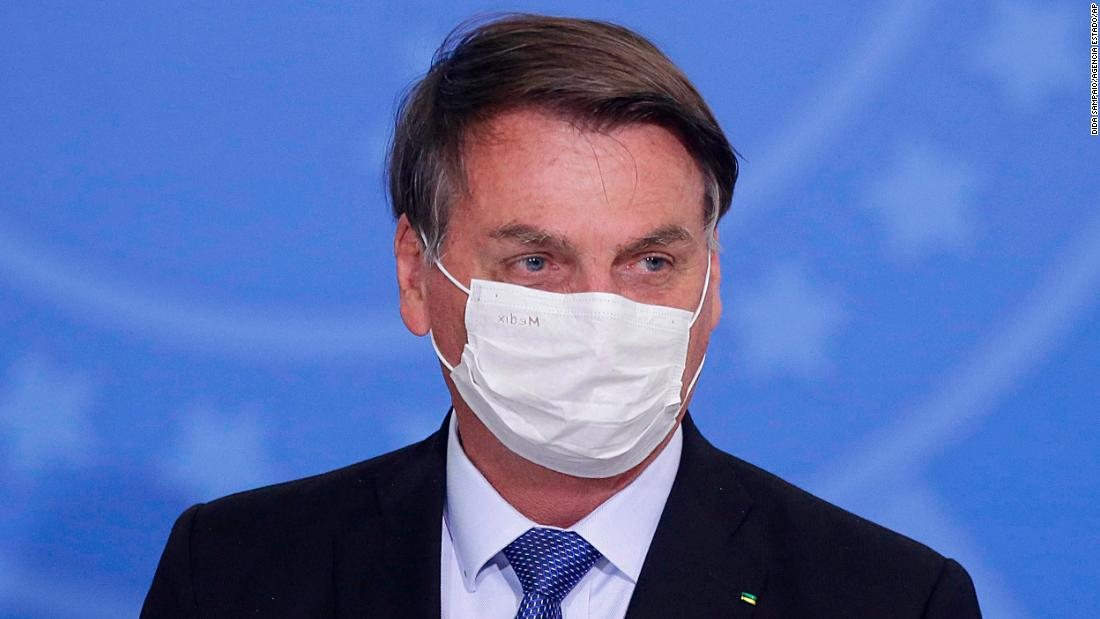 Jair Bolsonaro during the ceremony to extend emergency aid to informal workers, at the Planalto Palace in Brasília on June 30, 2020.