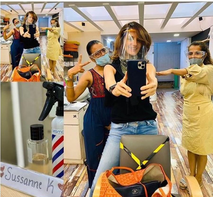 Sussanne Khan visits salon after four months