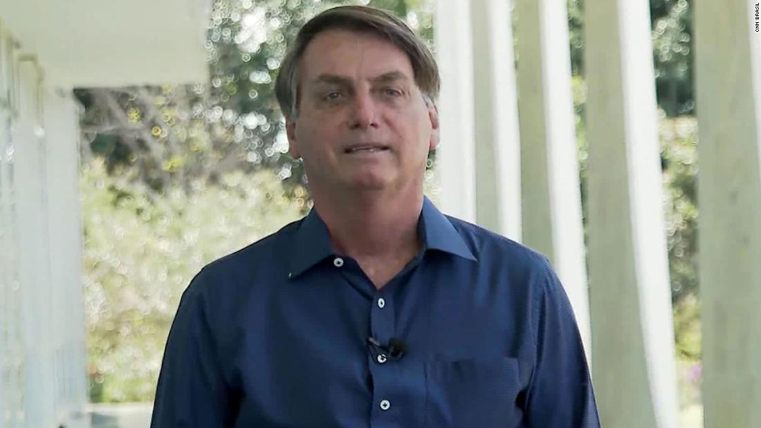 Brazil President Jair Bolsonaro speaks with press on July 7, 2020.