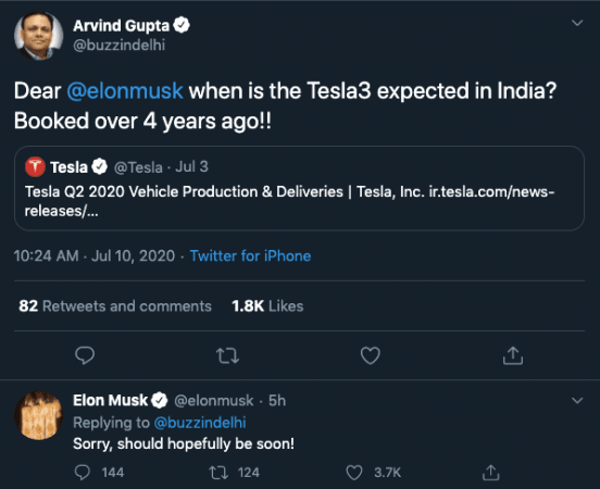 Elon Musk en el lanzamiento de Tesla 3 en India
