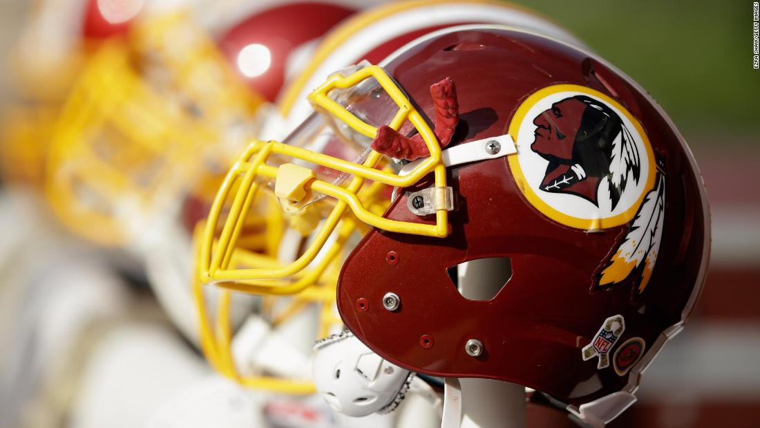 Washington Redskins helmets on the sideline during their game against the San Francisco 49ers at Levi's Stadium on November 23, 2014 in Santa Clara, California.
