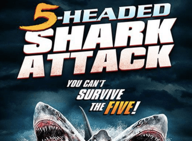 Cartel de ataque de tiburón de 5 cabezas