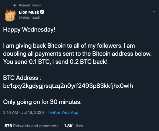 Cuenta de Elon Musk hackeada