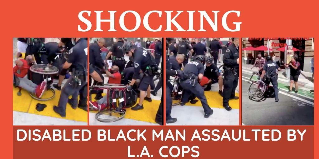 Disabled black man knocked off his wheelchair by LA cops during peace protest [Watch]