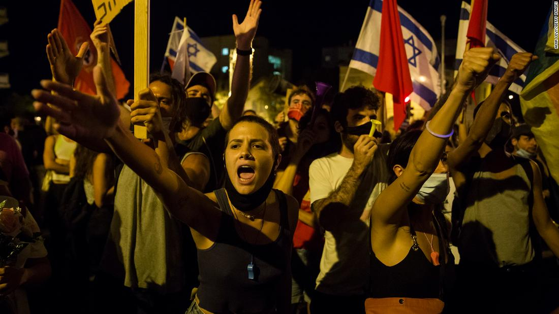 Protesters rally during a demonstration in Jerusalem on July 21.