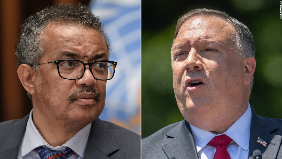 "WHO chief Tedros Adhanom Ghebreyesus said Mike Pompeo's comments were ""untrue and unacceptable."""