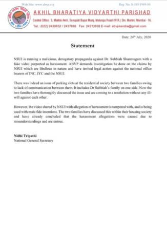 Declaración ABVP