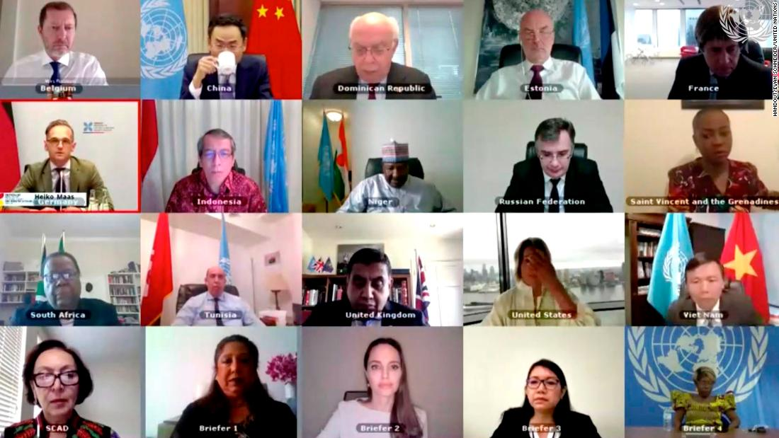 The Security Council members hold an open video conference on sexual violence in conflict on July 17 in New York.