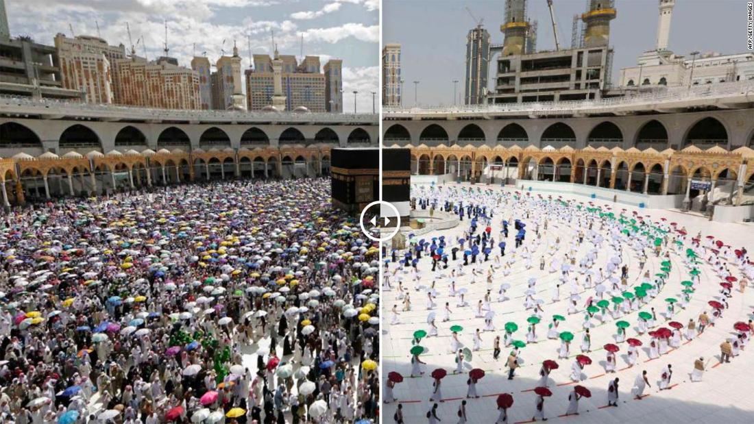 Fotos sorprendentes muestran Hajj socialmente distanciado