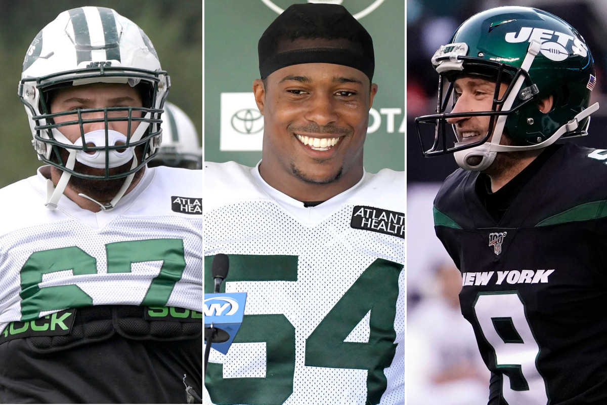 Brian Winters, Avery Williamson y Sam Ficken de Jets luchando por conseguir trabajo