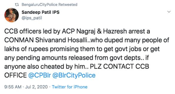 Tweet de Sandeep Patil IPS