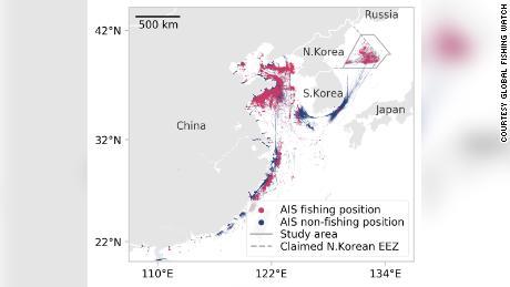 Este gráfico de Global Fishing Watch muestra la ubicación transmitida por todos los buques identificados como probables buques pesqueros que navegan dentro de la zona económica exclusiva de Corea del Norte durante 2017 y 2018.
