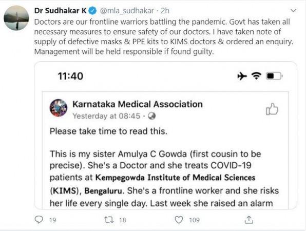 Tweet del Dr. Sudhakar