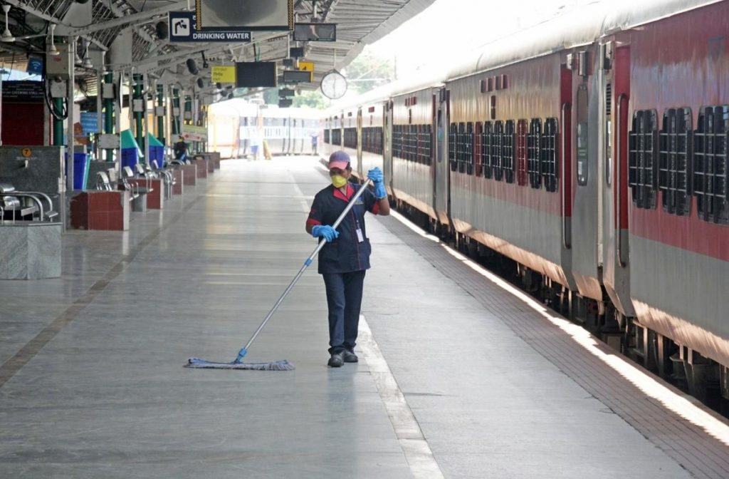 engaluru: Sanitation staff busy cleaning and disinfecting Bangalore City railway station during the extended nationwide lockdown imposed to mitigate the spread of coronavirus, on May 11, 2020.