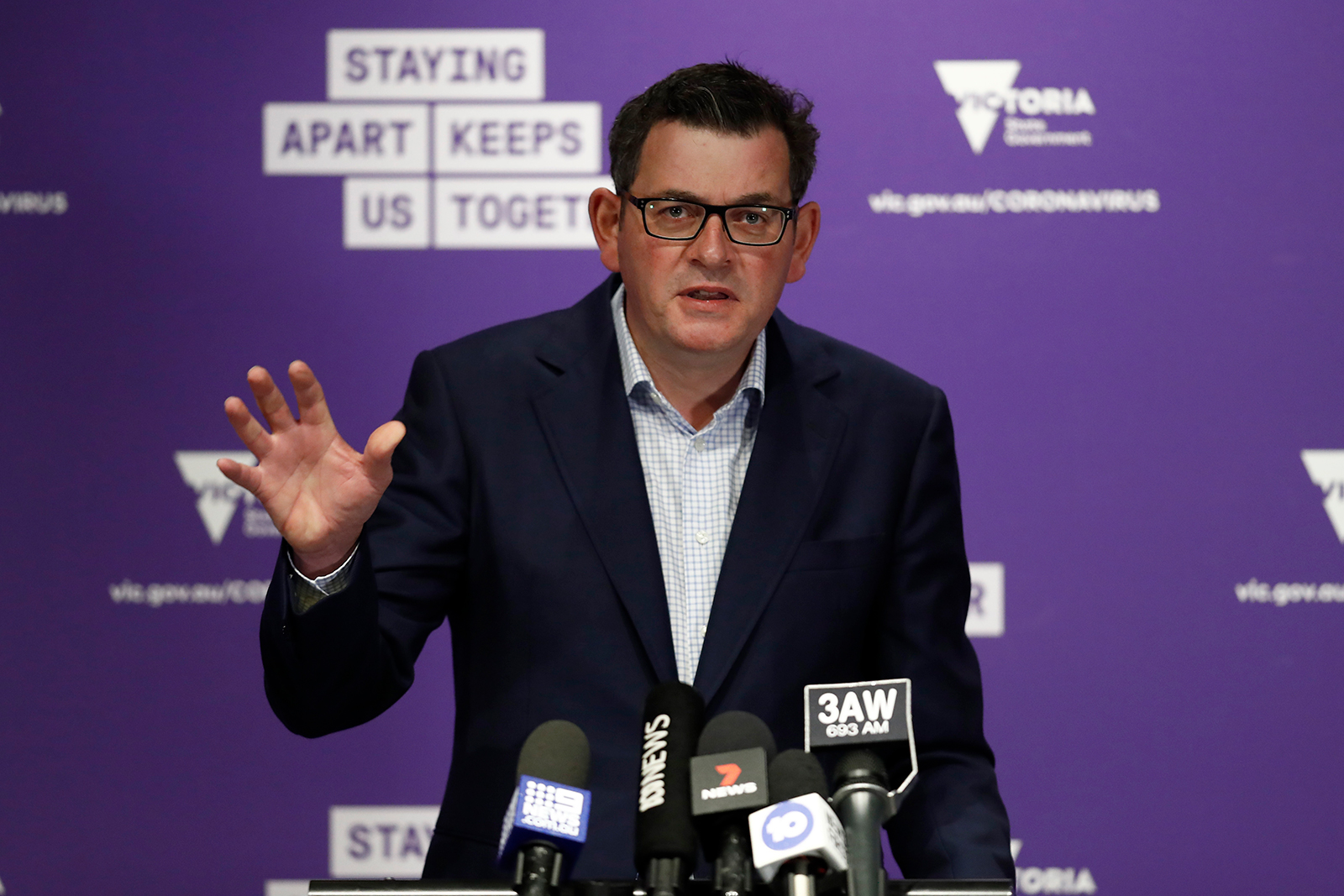 Victorian Premier Daniel Andrews speaks to the media during a news conference in Melbourne, Australia on Sunday, August 2.