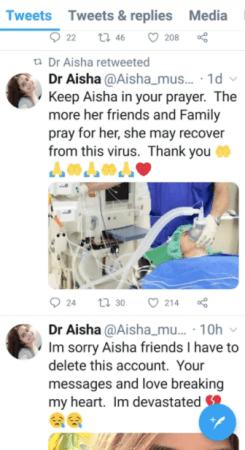 Tweets del Dr. Aisha