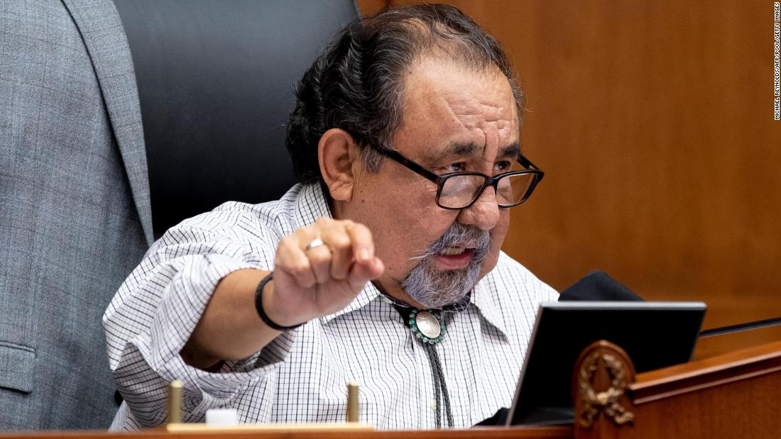 Democrat Raul Grijalva speaks during a House Natural Resources Committee hearing on Capitol Hill in Washington, DC, on June 29, 2020.