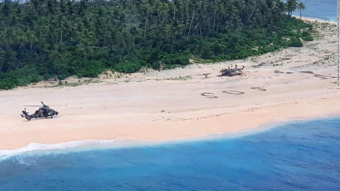 "An Australian helicopter landed on tiny PIkelot Island in the Federated States of Micronesia to render aid to three men who sought help by outlining ""SOS"" in the sand."