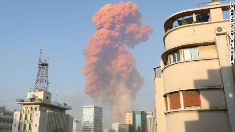 Escena de una explosión en Beirut el 4 de agosto de 2020.