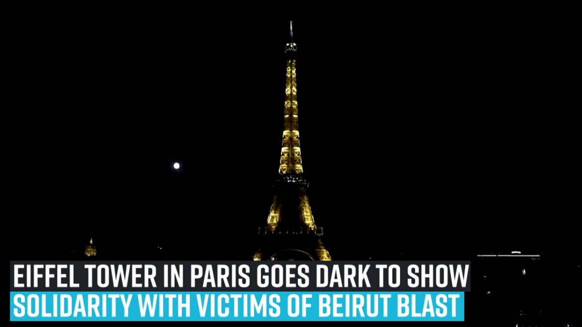 Eiffel Tower in Paris goes dark to show solidarity with victims of Beirut blast