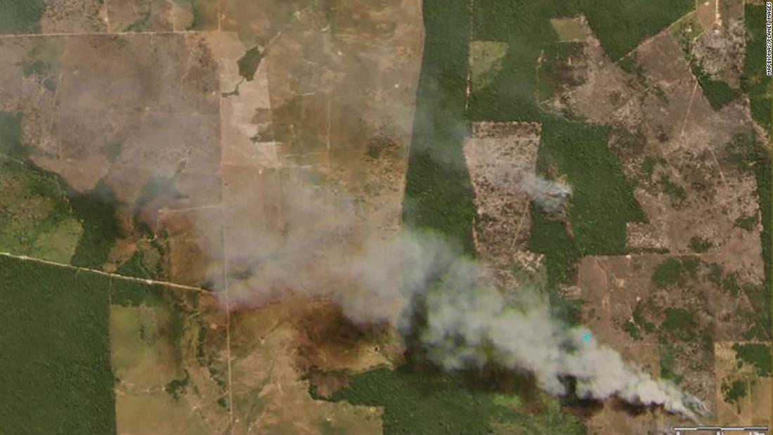 A satellite photo shows fires in Sao Felix do Xingu, in Pará province, on August 4, 2020
