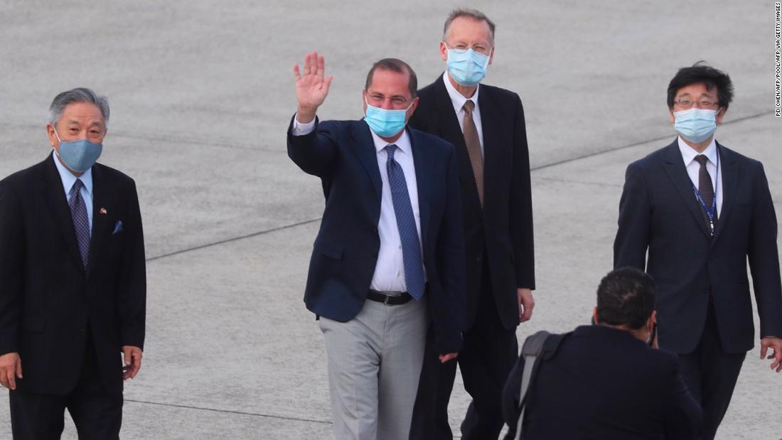 US Health Secretary Alex Azar arrives at Sungshan Airport in Taipei on August 9.