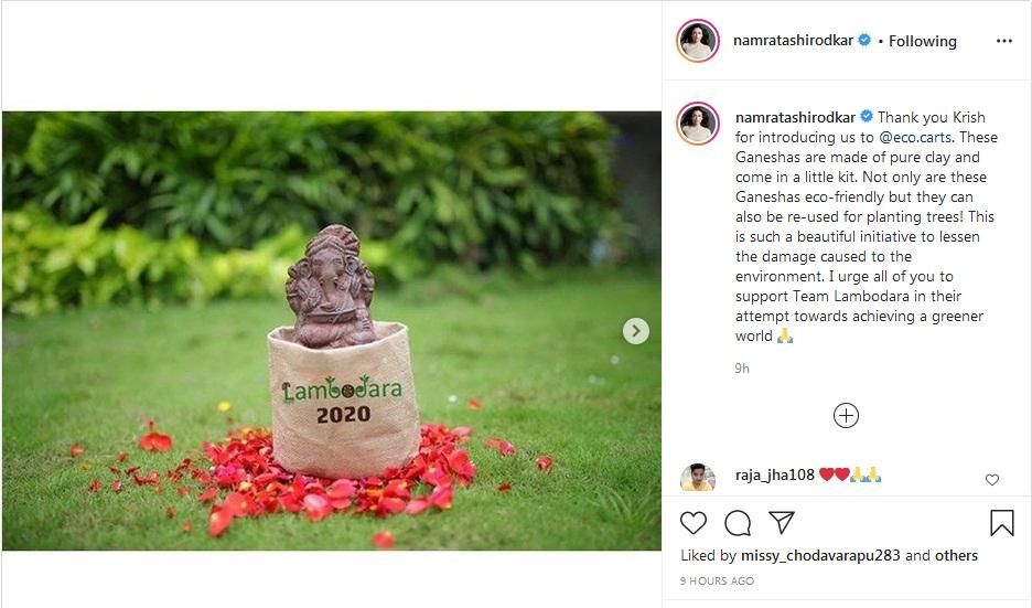 Namrata Shirodkar opts for eco-friendly Ganesha day after Mahesh Babu took Green India Challenge