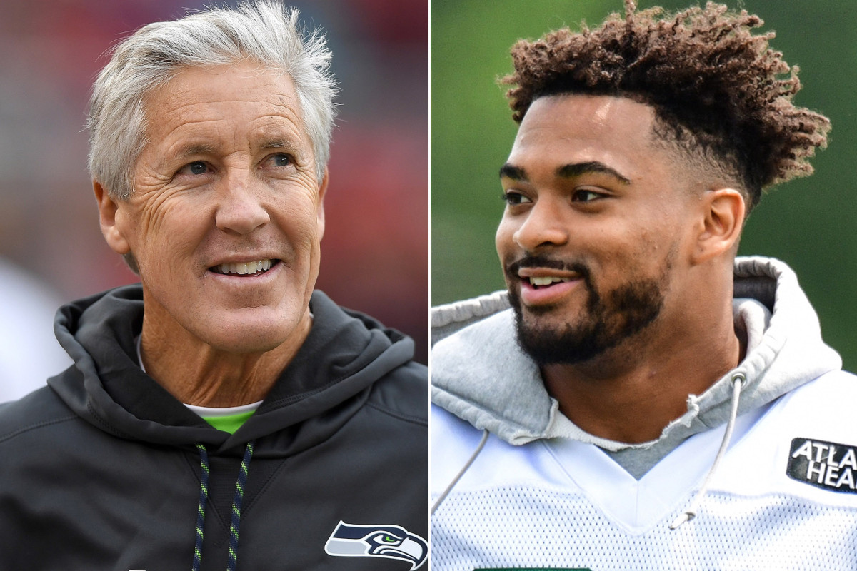 Jamal Adams y Pete Carroll sonrisas después del intercambio de Seahawks-Jets