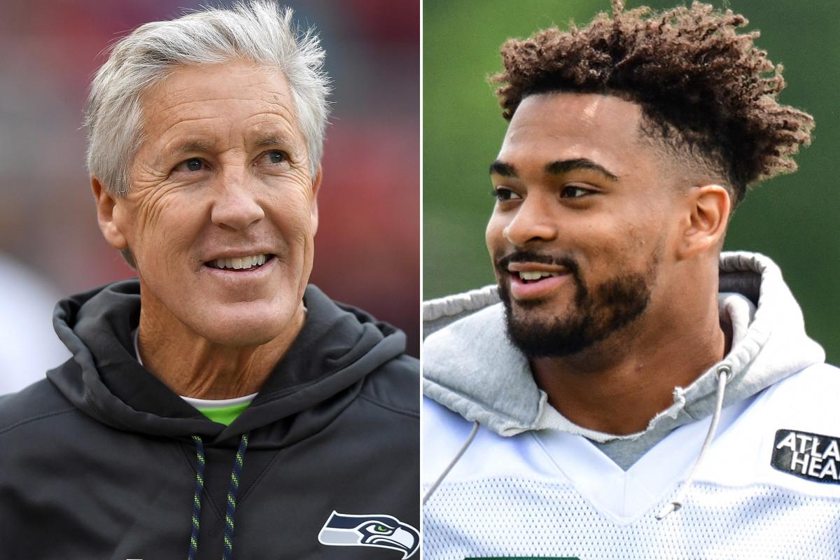 Jamal Adams y Pete Carroll sonrisas después del intercambio de Seahawks-Jets