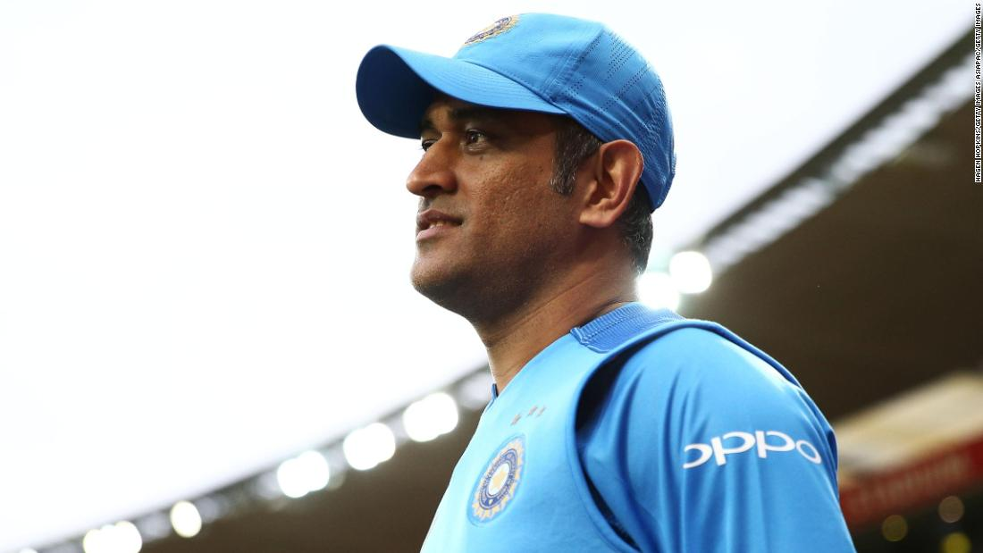 Dhoni looks on during a game against New Zealand.