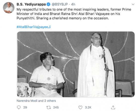 Tweet de CM Yediyurappa
