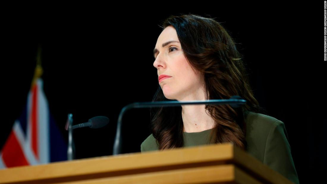 New Zealand Prime Minister Jacinda Ardern announces the election delay.