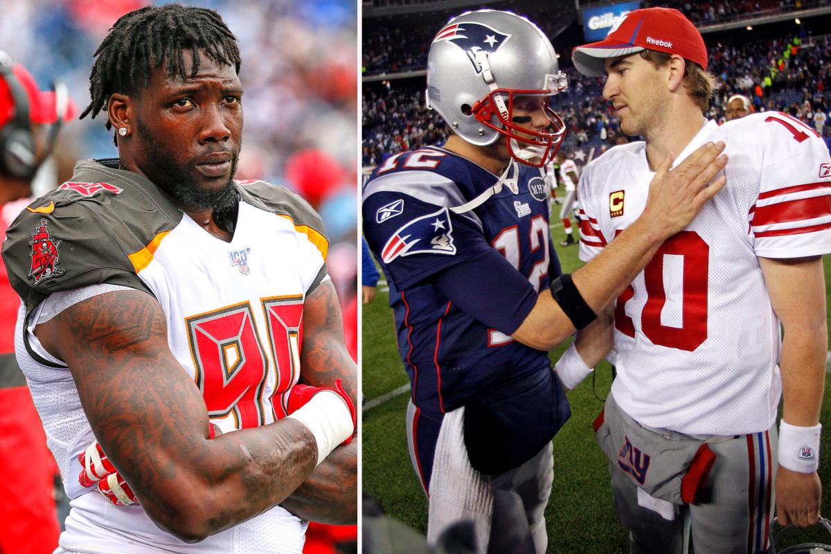 El enamoramiento de Jason Pierre-Paul con Tom Brady le da amnesia a Eli Manning